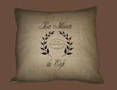 Vintage French Cafe Typography on BURLAP pillow cover, HANDMADE by WhimsyFrills, $28.00