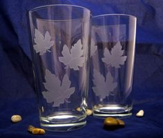 Falling Leaves Etched Pint glasses by DancesWithMonsters on Etsy, $35.00
