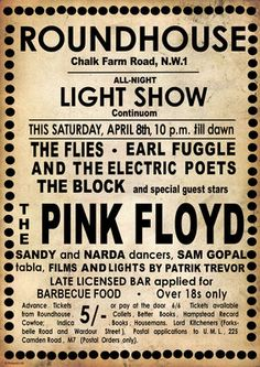 Pink Floyd Roundhouse Poster by Rokpool Rock Posters, Band Posters, Music Posters, Vintage Concert Posters, Vintage Posters, Pink Floyd Poster, Hippie Culture, Roger Waters, Round House