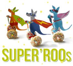 Cool super hero kangaroos on segwegs  You will need:  - Rice cakes or ontbijtkoek  - Butter or margarine  - Sprinkles  - Paper straws  - Round cookie cutter   - Scissors, stanley knife, glue and tape    To make the wheels:        Spread a little butter or margarine o