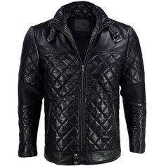 Black Moto Quilted Leather Biker Jacket - Maverick