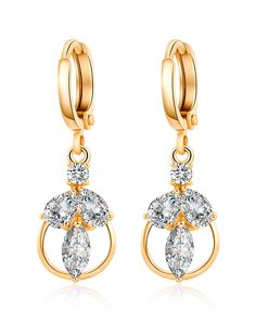 #AdoreWe #VIPme (VIPSHOP Global) KUNIU Leaves Gold Plated Zircon Inlaid Leverbacks Earrings - AdoreWe.com
