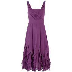 Jacques Vert Chiffon Bead Detail Dress, Dark Purple ($270) ❤ liked on Polyvore
