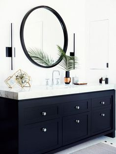 20 Bathroom Trends That Will Be Huge in 2017 2019 Make a statement in your bathroom with bold cabinetry. The post 20 Bathroom Trends That Will Be Huge in 2017 2019 appeared first on Bathroom Diy. Bathroom Trends, Bathroom Inspo, Bathroom Interior, Bathroom Inspiration, Modern Bathroom, Bathroom Ideas, Bathroom Black, Mirror Bathroom, Remodel Bathroom
