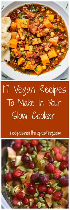 17 Vegan Recipes To Make In Your Slow Cooker You're going to love this collection of Vegan Slow Cooker recipes I've put together, regardless if you're vegan or not! I've got 17 Vegan Slow Cooker Recipes that are low maintenance and guaranteed to help you Vegan Crockpot Recipes, Slow Cooker Recipes, Vegetarian Recipes, Healthy Recipes, Vegetarian Soup, Tuna Recipes, Chicken Recipes, Vegetarian Sandwiches, Vegetarian Breakfast