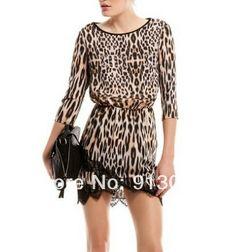 QZ949 New Fashion Ladies' sexy Leopard print Dress O neck half sleeve casual slim prom dress evening party brand designer dress $12.39 - 12.98