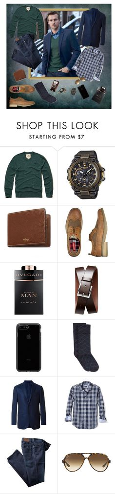 """Sweater look ...menswear"" by deborah-518 ❤ liked on Polyvore featuring Hollister Co., G-Shock, Mulberry, UNIONBAY, Bulgari, Banana Republic, Avon, Hue, Ermenegildo Zegna and Ray-Ban"