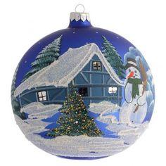 Addobbo Natale palla blu paesaggio neve 150 mm | vendita online su HOLYART