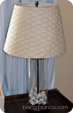 Chicken wire wrapped lamp shade - add a rustic touch to a basic lamp.  Easy DIY for great home decor!