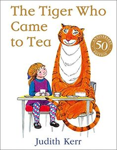The Tiger Who Came to Tea by Judith Kerr. The doorbell rings just as Sophie and her mummy are sitting down to tea. What they certainly don't expect to see at the door is a big furry, stripy tiger! Albin Michel Jeunesse, Books To Read, My Books, Judith, Ring Doorbell, The Book, Book Worms, Childrens Books, Toddler Books