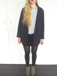 A.P.C. coat, Petit Bateau shirt, Mango corduroy skirt, Isabel Marant boots