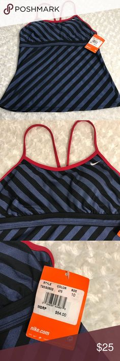 NEW! NIKE swim top with tags ($84) Size 10 New Nike striped swim top black/Navy/red size 10 Nike Swim