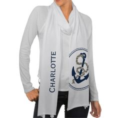 #Nautical #Anchor And Rope In Blue And White #Personalized Scarves from #Ricaso