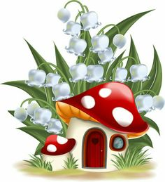 Illustration about Lily of the valley and mushroom house. Illustration of illustration, door, house - 34903329 Mushroom House, Mushroom Art, Painted Rocks, Hand Painted, Art Projects, Projects To Try, Lily Of The Valley, Fabric Painting, Rock Art