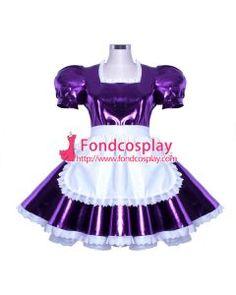 Sissy Maid Dress Lockable Purpel Pvc French Uniform Cosplay Costume Custom-Made[G912]