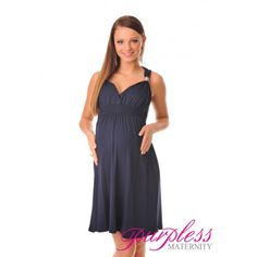 Maternity Summer Party Sun Dress 8423 Navy Beautiful new Purpless Maternity summer party dress. Cross over cleavage, stylish shoulder straps with metal embellishment and high back. Elasticated under bust and around back. The dress has been designed for pregnant ladies and gives lots of space for growing baby bump. Perfect for warm summer days or cocktail parties and other occasions.