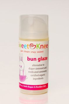 Our Bun Glaze is the non-medicated truly effective alternative to diaper ointment.  no synthetic or petroleum based ingredients nice glaze consistency and pump dispenser = clean and fun diaper changes diaper rash, insect bites, sunburn minor cuts, scrapes and minor burns cloth diaper safe and preferred