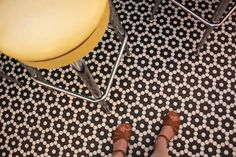 Like standing in a field of black & white flowers - Winckelmans hexagon tile #floorcores