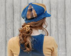 Denim Patchwork Newsboy Hat  #fashion #upcycle #denim #recycle