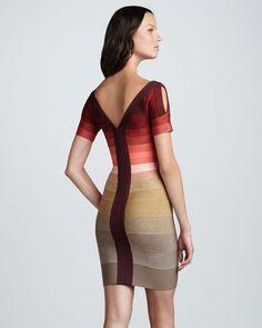 Herve Leger Ombre-Stripe Short-Sleeve Bandage Dress - Neiman Marcus