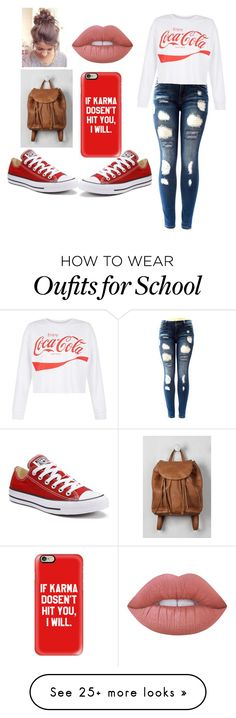 """Back to school"" by alexis-chandler04 on Polyvore featuring Converse, New Look, Casetify and Lime Crime"