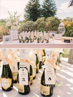 Wine bottle escort cards @weddingchicks