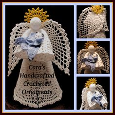 Stunning pineapple winged angel 'Crystal', available by custom order from Cara's Handcrafted Crocheted Ornaments. Angel stands about 9 inches tall and usually holds a bouquet of delicate crocheted roses, but Small Angel Boy 'Jack' needed a larger companion angel to look after him, so this angel is holding Jack's teddy bear and baby blanket.    Find me on Facebook at www.facebook.com/CarasHandcraftedCrochet  and on Etsy at www.etsy.com/shop/CaraLouiseCrochet