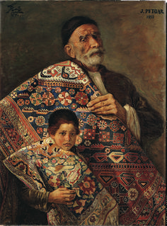 Carpet Vendors - Oil Painting(70X94cm) - By Jafar Petgar - Iranian Artist - 1952