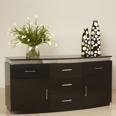 Chintaly Imports XENIA-BUFF Five Drawer Contemporary Sideboard - Home Furniture Showroom