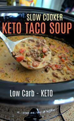 This Easy Slow Cooker Keto Taco Soup is Perfect for Fall! This Easy Slow Cooker Keto Taco Soup is Perfect for Fall! Ketogenic Recipes, Low Carb Recipes, Cooking Recipes, Ketogenic Diet, Cooking Tips, Slow Cooker Keto Recipes, Cooking Steak, Healthy Crockpot Soup Recipes, Low Carb Slow Cooker