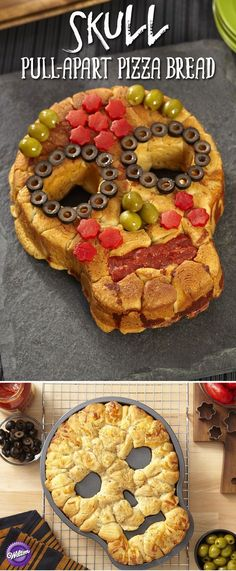 Treat Halloween party guests to a savory and satisfying snack. Pull-apart pizza dough gets tossed in Italian seasonings, parmesan cheese and butter and baked to perfection with your favorite toppings to dress it up. halloween food and drink Halloween Appetizers, Fete Halloween, Halloween Dinner, Halloween Goodies, Halloween Food For Party, Halloween Treats, Halloween Pizza, Halloween Pretzels, Creepy Halloween