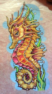 "Photo of Canvas Tattoo & Piercing - ""Seahorse Drawing"" - Fountain Valley, CA Seahorse Drawing, Sea Drawing, Seahorse Tattoo, Seahorse Art, Painting & Drawing, Seahorses, Octopus Painting, Tattoo Bein, Desenho Tattoo"