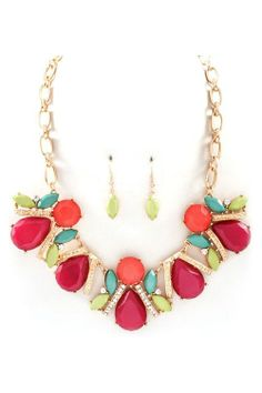 Multi-Color Beaded Necklace with Earrings.