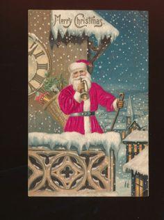Patriotic SILK Santa Claus with Clock & American Flag antique Postcard-ggg900