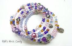 Purple Beaded Coil Bracelet Wrap by RandRsWristCandy on Etsy, $10.00