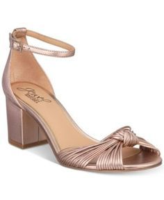 ee23e8e6afe6c Jewel Badgley Mischka Lacey Block-Heel Dress Sandals - Gold 9.5M Dress  Sandals