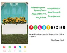 Enjoy the summer with the products plart design!  - www.plartdesign.it/en -  #Interiordesgin #lightingdesign #outdoordesign  We will be closed from the 12th to 29th of August!  The Plart Design staff  wishes you all happy holidays!