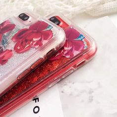 Red Rose Liquid Quicksand Glitter Iphone case