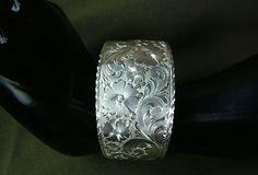 Western Bright Cut engraved Sterling Silver Cuff by GypsumMountain, $300.00