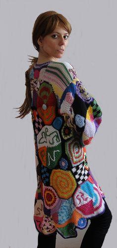 Multicolor cardigan hand made crochet patchwork vest