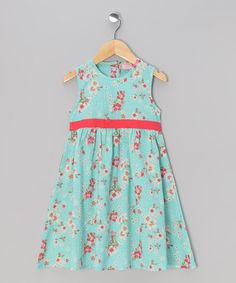 Take a look at this Aqua & Red Babydoll Dress - Toddler & Girls by Sweet Elegance on #zulily today!