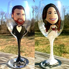 bride and groom wine glass caricatures