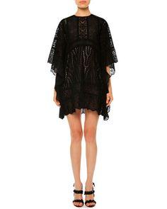 W08HH Valentino Sangallo Lace Cape Dress, Black