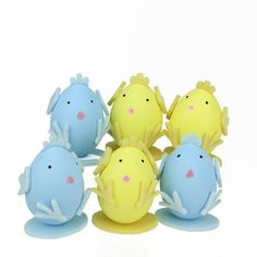 Set of 6 Yellow and Blue Easter Egg Chicken Decorations