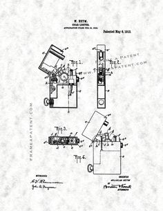 This is a Patent Print for a Cigar-lighter. It was invented by Wilhelm Heym and it was issued on May 1913 by the United States Patent and Trademark Office. Cigar Lighters, Patent Prints, Smoking, Poster Prints, Tobacco Smoking, Vaping, Smoke, Cigar