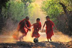 Burmese novices playing soccer in the evening  Kyaw Kyaw Winn (Yangon, Myanmar)  Photographed April 2011, Myanmar