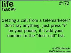life hacks Telemarketers and do not call list Hack My Life, Simple Life Hacks, Useful Life Hacks, I Need To Know, Things To Know, Stupid Things, School Life Hacks, Look At You, Just For You