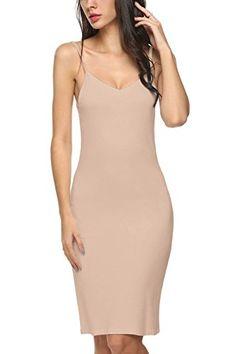 9c4e253b52 Avidlove Women Full Slips Cotton Blend V Neck Straight Dress Nightwear  Skincolor (FBA) S