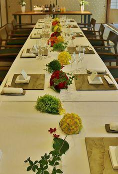 丸っこく 流しテーブルの花