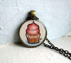Pendant Necklace  Pink Cupcake Necklace Original by jojolarue, $28.00